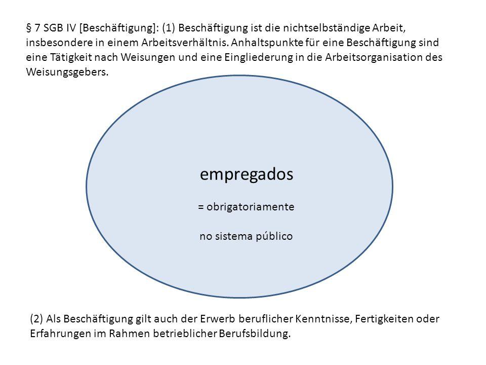 § 7 SGB IV [Beschäftigung]: (1) Beschäftigung ist die nichtselbständige Arbeit, insbesondere in einem Arbeitsverhältnis. Anhaltspunkte für eine Beschäftigung sind eine Tätigkeit nach Weisungen und eine Eingliederung in die Arbeitsorganisation des Weisungsgebers.